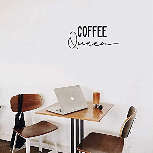 Kaffee Königin - 9 x 20 - Moderne inspirierende Zitat Aufkleber für Frauen Mädchen Kaffeeliebhaber Home Küche Büro Küchenzeile Esszimmer Coffee Shop Dekor (schwarz)-Schwarz