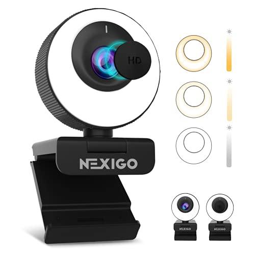 60FPS Autofokus 1080P Webcam mit Ringlicht und Abdeckung, Stereo Mikrofon, USB Webkamera für Streamen von Online-Kursen, Kompatibel mit Zoom/Skype/Facetime/Teams, PC Mac Laptop Desktop