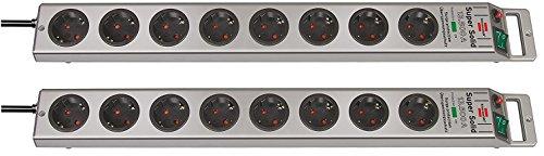 Brennenstuhl Mehrfach-Set: Super-Solid Überspannungsschutz-Steckdosenleiste 8-fach silber mit Schalter (2 Stück)