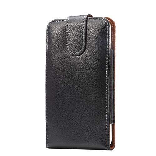 Vertikal drehbare Gürtel-Clip Leder Handyhalterung Tasche für Samsung Galaxy S10+, S9 Plus, A50, A30, Google Pixel 3a XL, 3XL, 2XL / Asus ZenFone AR, 5Q, ROG Phone/Razer Phone 2, L, schwarz
