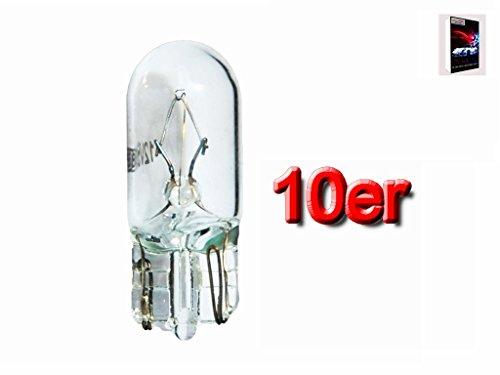 10x Glassockellampen T10 5 Watt W5W 12V 5W Auto KFZ Standlicht Autolampen Glühbirne Kennzeichenlicht