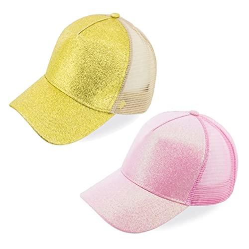 Natuiahan Pack de 2 Gorras de Béisbol Ajustables Gorras de Gama Alta Elegantes y Transpirables sin Logo en Rosa y Dorado