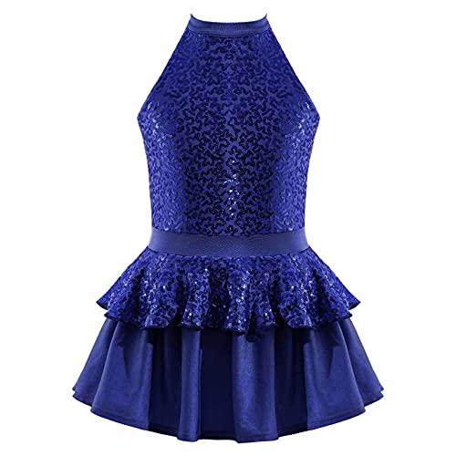 iiniim Disfraz de Bailarina para Nia Vestido de Patinaje Vestido Nia Princesa Maillot Lentejuelas con Falda Tutu Princesa Dancewear 6-14 Aos Azul Marino 3-4 aos