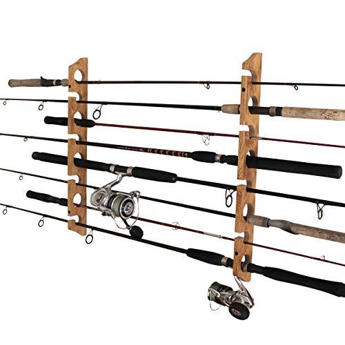 Rush Creek Creations 8 Fishing Rod Storage Wall, Ceiling, or Garage Mount Rack, American Cherry