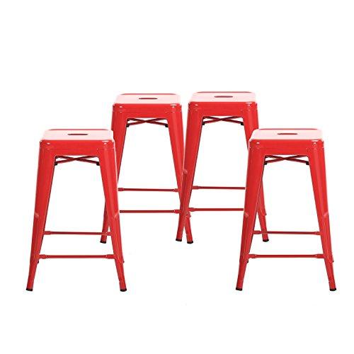 Buschman Metal Bar Stools 24' Counter Height, Indoor/Outdoor and Stackable, Set of 4 (Red)