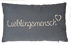 Kamaca LIEBLINGSMENSCH Kissen 30 cm x 50 cm Flauschig gefülltes Kissen mit Reißverschluss Bezug aus 100% Baumwolle EIN Hingucker und wertiges Geschenk (GRAU)