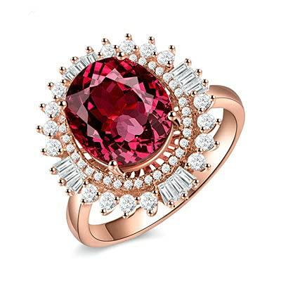 Bishilin Anillo de Oro Rosa 750 Mujeres Hombres Anillo de Banda Real, Diamante Flor Anillo con Oval Rojo Turmalina 4.225ct Anillo de Alianza de Boda de Compromiso de Aniversario Tamaño: 22
