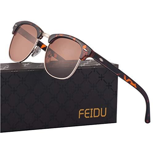 FEIDU Retro Polarized Mens Sunglasses for Men Half Metal Women FD3030 (brown-leopard, 2.04)
