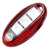 日産キーケース セレナ キーケース TPU エルグランド キーケース かっこいい 4ボタン セレナ c27 キーケース ニッサンスマートキーカバー セレナC26 セレナC25 エルグランドE52 エルグランドE51 両側電動スライドドア NISSAN (赤)