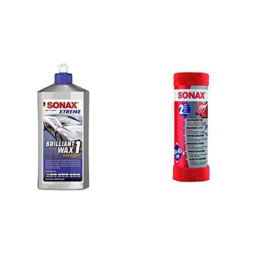 SONAX Xtreme BrilliantWax 1 Hybrid NPT (500 ml) flüssiges Hartwachs ohne Schleifmittelanteil & MicrofaserTücher Außen - der Lackpflegeprofi (2 Stück) hochwertig und flauschig