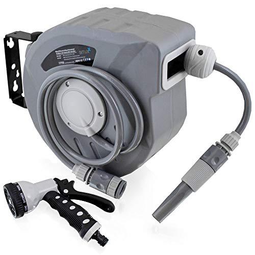 BITUXX Wand Wasser Schlauchtrommel Schlauchaufroller Wasserschlauchaufroller Schlauchbox Automatik (10 m + Multi Schlauchpistole)