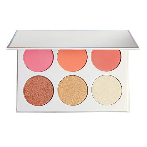 Allbestaye 6 Farben Shimmer Matte Rouge Palette Wasserfest Cheek Blush Pink Peach Langlebig Make-up...