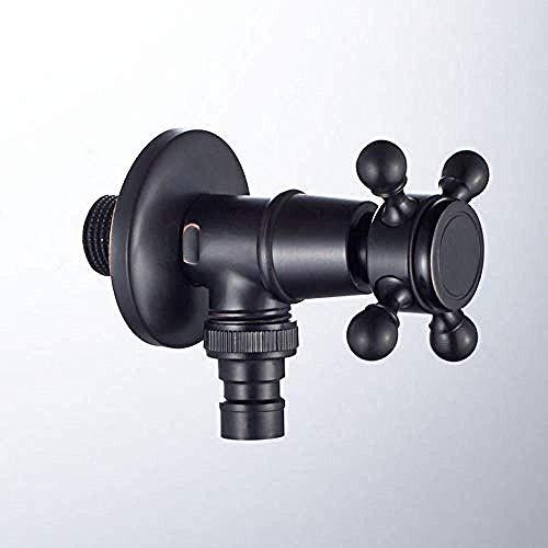 Toque todo el material de cobre Bronce negro Lavadora negra Grifos grifos Balcón Conector de cierre de grifo