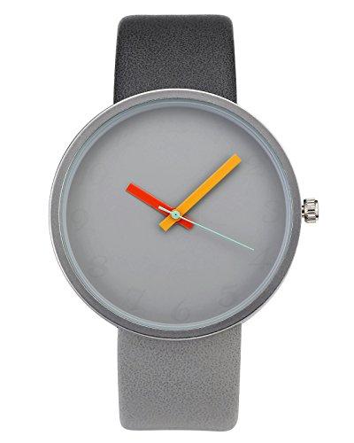 JSDDE Fashion Damen Armbanduhr Minimalist Kontrastfarbe Studentenuhr PU Lederarmband Analog Quarzuhr Dunkl-Hell Grau