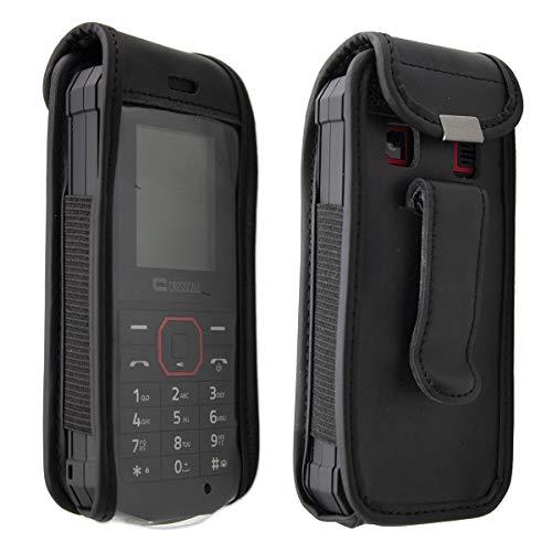caseroxx Hülle Ledertasche mit Gürtelclip für Crosscall Spider X1 aus Echtleder, Tasche mit Gürtelclip & Sichtfenster in schwarz