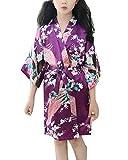 Niños Niña Bata Kimono Traje Ropa de Noche con Pavo Real y Flores Pijama Albornoces SPA Natación Cumpleaños Morado 10