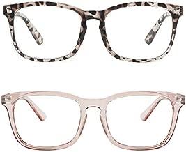 MEETSUN Blue Light Blocking Glasses, Anti Eye Strain Headache (Sleep Better),Computer Reading Glasses UV400 Transparent Lens (Coffee + Leopard/Clear Lens / 2 PACK, 53)