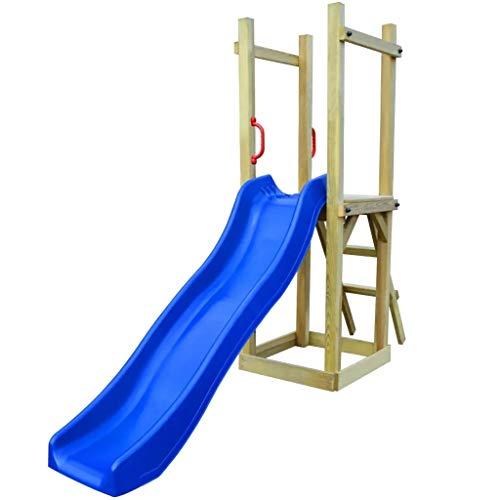Ausla - Escalera de madera para escalada con columpio y casa de juegos de caballero con escalera para niños, 237 x 60 x 175 cm