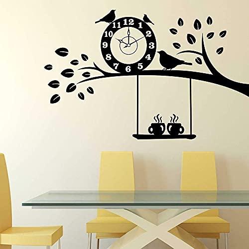 WERWN Árbol y café Pegatinas de Pared Dormitorio Sala de Estar Puertas y Ventanas calcomanías de Vinilo decoración del hogar Reloj pájaro café Restaurante Arte Mural