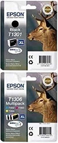 Epson T1301 schwarz + T1306 3-er Set von cyan/magenta/gelb, Original Tintenpatrone