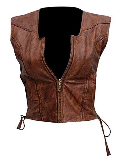 CHICAGO-FASHIONS Womens Danai Gurira Walking Dead Michonne Brown Leather Vest