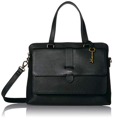 "Fossil Women's Kinley Leather Satchel Handbag, Black,12.25""L x 3.88""W x 8.75""H"