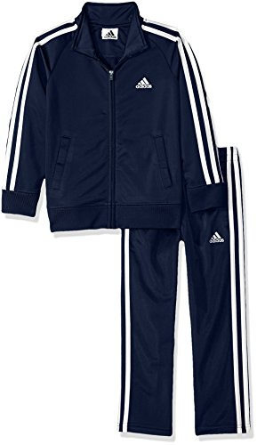 adidas Boys' Little Tricot Jacket & Pant Clothing Set, Collegiate Navy, 6