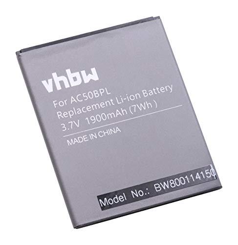 vhbw Li-Ion Akku 1900mAh (3.7V) für Handy Smartphone Telefon wie Archos AC50BPL