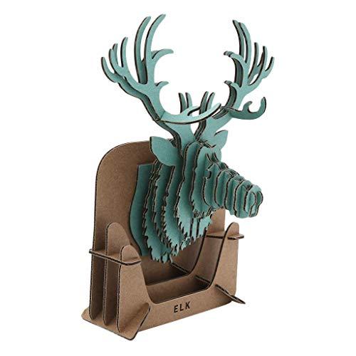 Backbayia - Papel origami de cartón, diseño de cabeza de Wapiti para decoración de pared, kit de trofeo de caza Puzzle 3D