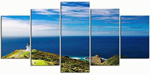 Jia Arte ™ Gemälde Moderne Leinwand Malerei Wandkunst Bilder 5 Stück, Capri Italien Straße, Wanddekoration Hd Gedruckte Poster 150 x 100 CM - 5 Fotos Gedruckt Auf Leinwand Malerei Wandkunst Wandbild