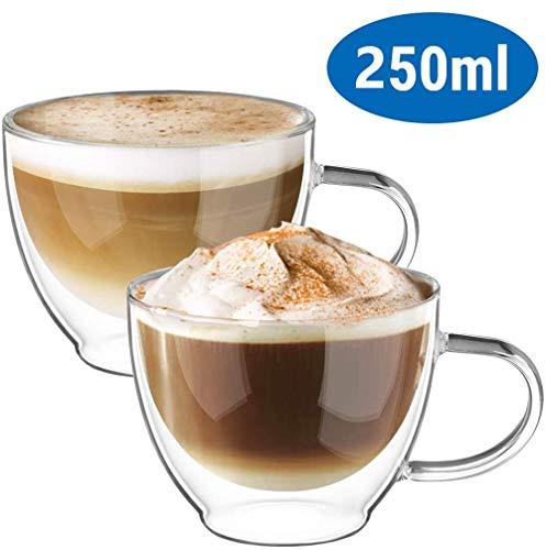 2x250ml Dubbelwandige koffieglazen Mokken Cappuccino Latte Macchiato Glazen Bekers met handvat Borosilicaat Hittebestendige bekers voor koffie Thee Melk Sap IJs,250ML/2PCS