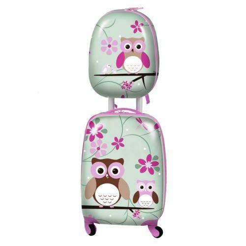 Los niños llevan la maleta con ruedas para niñas - Diseño de búho. Equipaje ideal para la cabina / Maleta / Maleta con equipaje de mano para niños.