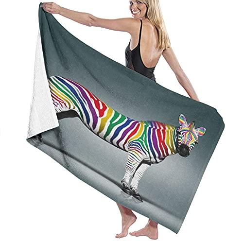 PATINISA Toalla de Playa de Microfibra,Cebra con Estampado Digital de Rayas arcoíris,Toalla...