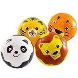 beetoy 4 Stück Softball Kinder Spielball Mini-Fussball für die Kleinsten   Softbälle-Set weicher Füllung Schaumstoffball Tier-Design Ball Klein (Tiger, Löwe, Panda, AFFE)