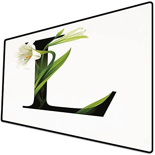 Tappetino per mouse da gioco [600x300 x 3 mm],Lettera L, tipografia ABC concettuale L maiuscola con grazia naturale floreale fiorita di giglio, ve Base antiscivolo 45x45cm