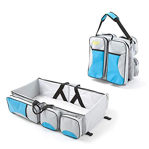 LG&S 3 en 1 Universal de Viaje Cuna Bolsa de pañales Infantil Portable Cuna Cuna Saco de Dormir Plegable con Aislamiento Bolsas para los recién Nacidos,Azul