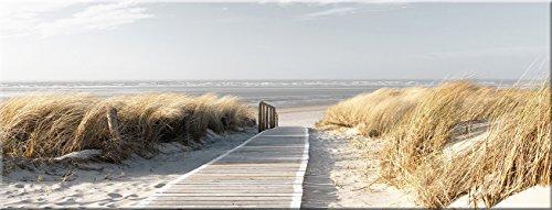 artissimo, Glasbild, 80x30cm, AG1916A, Der Weg zum Meer, Strand, Strandweg blau beige, Bild aus Glas, Moderne Wanddekoration aus Glas, Wandbild Wohnzimmer modern