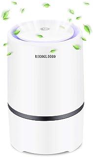 RIGOGLIOSO空気清浄機 脱臭 除菌 家庭用小型空気清浄機 HEPAフィルター付き 2020最新アップグレード版 静音 花粉 塵埃 臭い PM2.5対策 ポータブル式空気清浄器(ホワイト)