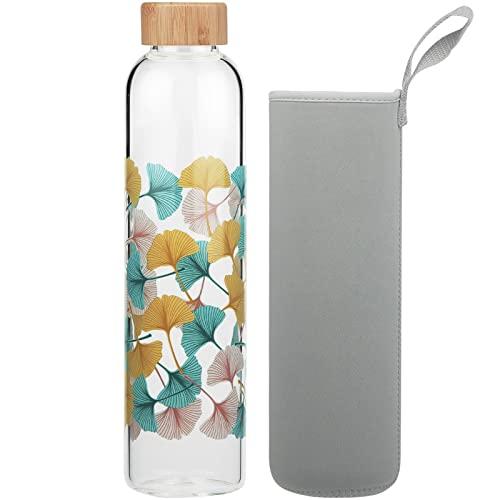 Cleesmil Botella de Agua de Cristal 1000 ml / 1 litro Botella de Agua de Vidrio Deportiva con Funda de Neopreno sin BPA (Hoja de ginkgo)