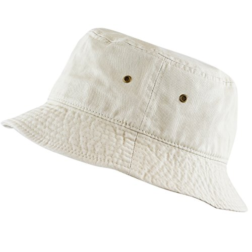 The Hat Depot 300N Unisex 100% Cotton Packable Summer Travel Bucket Hat (L/XL, Putty)