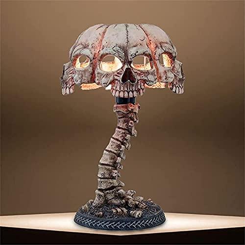 ANLIFL Lámpara de Esqueleto de Calavera, Lámpara de Mesa de Calavera LED Figuras de Halloween, Lámpara de Carnaval de Esqueletos Horror Exquisito Hecho a Mano de Halloween