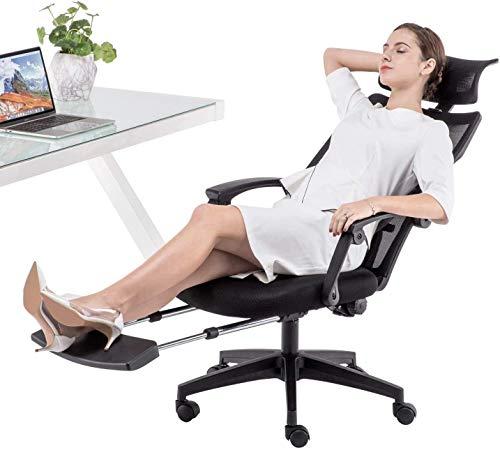 Dripex Bürostuhl Bürostuhl mit Fußstütze Ergonomischer Stuhl mit 140 ° Verstellbarer Schreibtischstuhl Computerstuhl mit Kopfstütze und Lordosenstütze