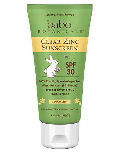 Babo Botanicals Clear Zinc Sunscreen Lotion SPF 30, 100% Mineral Active, Non-Nano, Summer Scent, Vegan - 3 oz.
