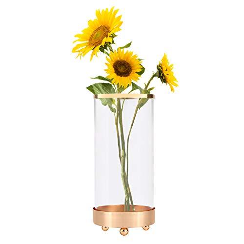 Vase à fleurs,Vases à fleurs en cristal Vase à fleurs au choix de 3 tailles avec base en métal Vase en verre cylindrique pour fleurs Vase à fleurs Bouquet pour Décoration de fête de mariage Large