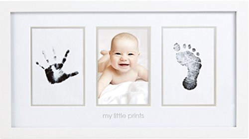 Pearhead Baby Prints Newborn Handprint and Footprint Photo Frame Kit, Safe Clean-Touch Ink Pad Included, Gift to New Parents for Christmas or Baby Shower, White