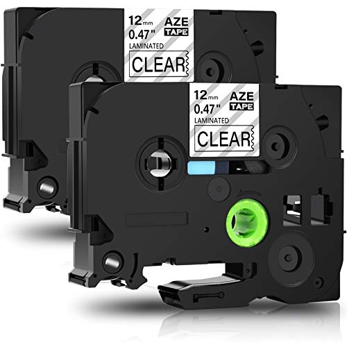 GREENCYCLE 2 Pack Compatible for Brother TZ TZe 131 TZ-131 TZe-131 Standard Label Tape for Ptouch PT-D210 PT-H110 PT-D400AD Label Maker 12mm (1/2 Inch) x 8m (26.2 ft) Laminated Black on Clear
