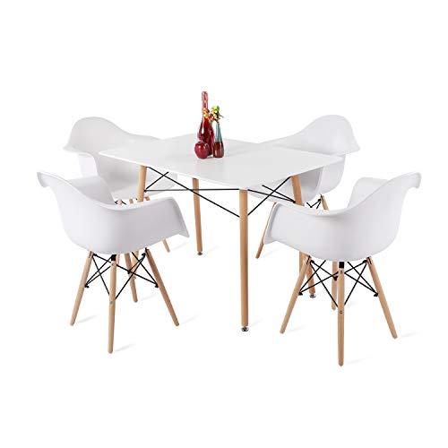 DORAFAIR Set aus Rechteckig Esstisch Weiß und 4 Modern Esszimmerstühle, für Küche Esszimmer Konferenzzimmer, Weißer Stuhl