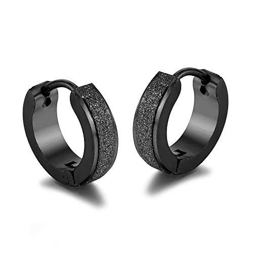 BlackAmazement Juego de 2 pares de pendientes de aro de acero inoxidable 316L, con chorro de arena y purpurina, 4 mm, para hombre y mujer