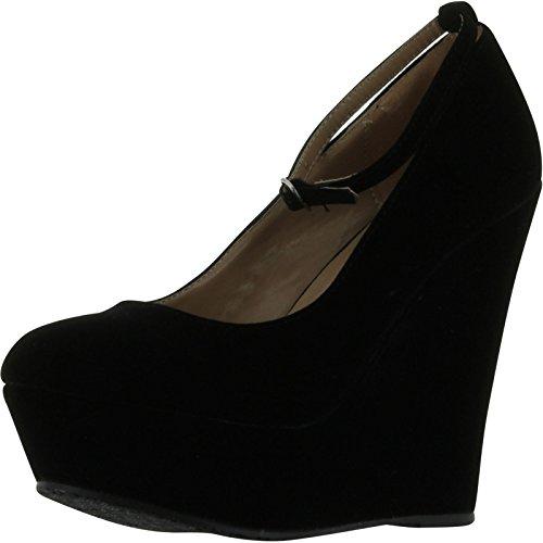 Delicious Black Faux Suede Round Toe Ankle Strap Cover Platform Wedge Shoes,Premium Black Suede+,7