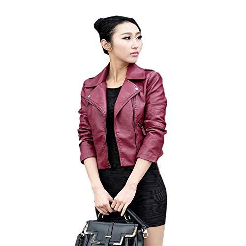 Saoye Fashion Damen Mode Lederjacke Kunstleder Kurze Jacke Einfarbig Gekippter Reißverschluss Freizeit Fiesta Kleidung Slim Cool Jacken Herbst Mantel (Color : Wein rot, Size : De L(2XL))